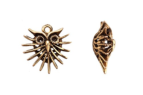 Bracelet Charms, Antique-Gold Finished Fancy Owl With Spikes Design Crystal Setting 24X24mm Fits 2Pcs ss10/pp21 Swarovski Crystals sold per 3Pcs/Pack (2Pack Bundle), Save $1