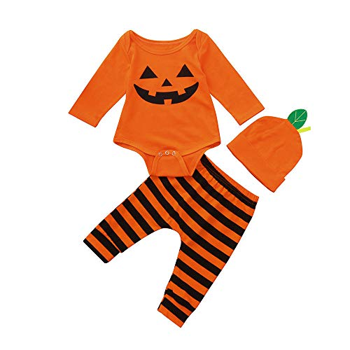 3Pcs Newborn Baby Girl Boy Halloween Clothes Set Pumpkin Romper Top + Pants with Hat Outfits Kids Clothing (0-6 Months, Orange) ()