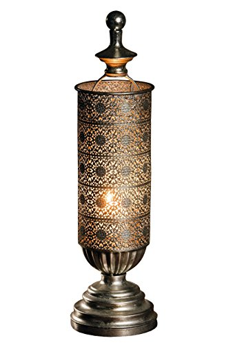 Metal Oriental-style Table Candle Lantern - Mirage Antique Silver Candle Lantern Product SKU: CL221833 -