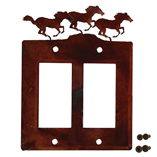Decorative Rustic Finish Steel Decora Rocker Style Light Switch Cover/Wall Plate - Double Switch, - Switch Light Horse Covers
