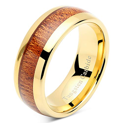 100S JEWELRY Mens Wedding Bands Tungsten Rings Koa Wood Inlay 14k Gold Plated Size 6-16 (10.5) ()