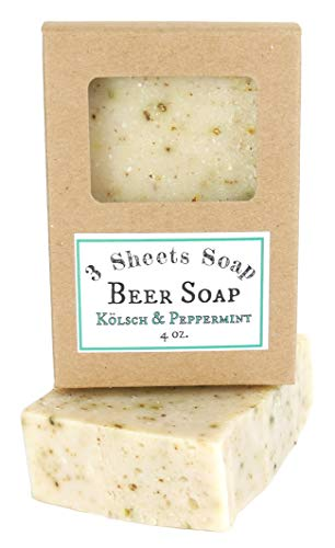 Beer Soap - USA Handmade from Homebrewed Craft Beer 4oz. - by 3 Sheets Soap (Peppermint)