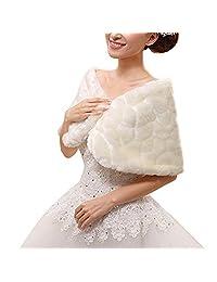 Women Winter Warm Faux Fur Shoulder Cape Shawls White Wedding Bridal Wraps Capelets