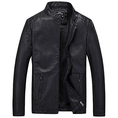 WOCACHI Winter Clearance Sale Mens PU Leather Jacket