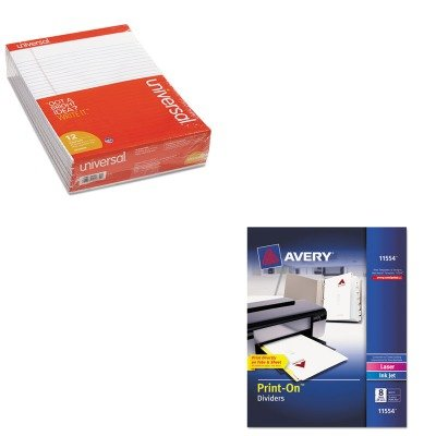 KITAVE11554UNV20630 - Value Kit - Avery Print-On Dividers (AVE11554) and Universal Perforated Edge Writing Pad (UNV20630) by Avery