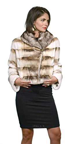 Semi-Sheared Mink Fur Jacket with Shawl Collar(Brown and Mahogany ,XS)