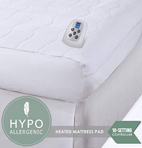 Serta | Silky Smooth Plush Velour Electric Heated Mattress Pad with Hypoallergenic Fill (Queen) (Serta Heated Mattress Pad)