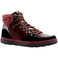 Gucci Contrast Combo Dark Red Patent Leather/Suede High top Sneaker 368496 1078