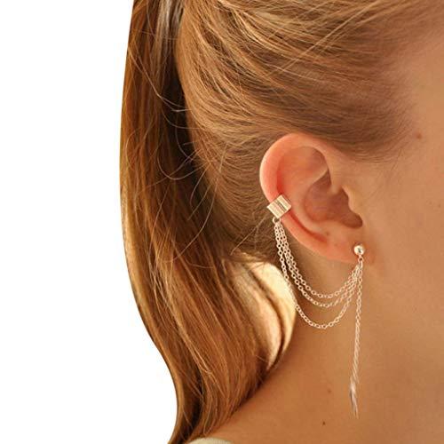 en Punk Leaf Tassel Wraps Earrings Jewelry - Personality Charm Metal Ear Clip Cuffs Stud Earrings for Girls Lady Party Date Ball Wearing,7.5cm+7cm (Silver) ()