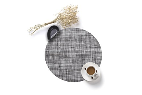 HYSENM 4 Pack Round Stain Resistant Heatproof PVC 35CM Dining Table Mats Placemats, gray for $<!--$13.99-->