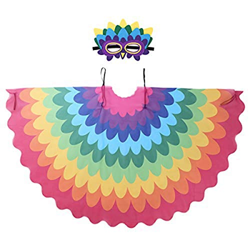 - moily Children Fairy Bird Costumes Feather Wings Cape with Eye Mask Halloween Pretend Play Masquerade Party Type D One Size