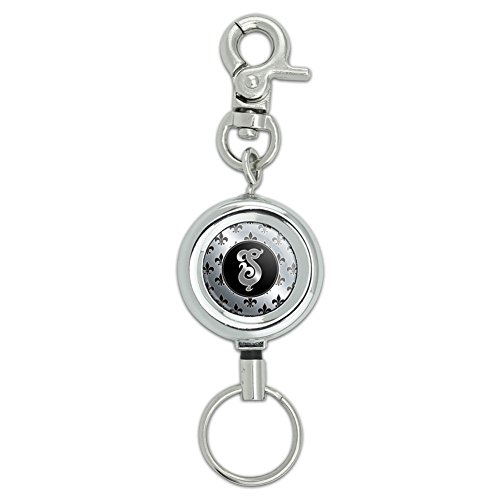 Letter S on Fleur De Lis Pattern Lanyard Belt ID Badge Key Retractable Reel Holder