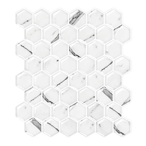 White Marble Peel & Stick Tile Backsplash, Hexagon Mosaic Tiles, Kitchen and Bathroom Backsplash Tile (Pack of 5, Thicker Design)