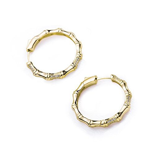 Bamboo Dangle - S.Leaf Minimalism Bamboo Hoop Earrings Round Circle Dangle Earrings (14K gold plated)
