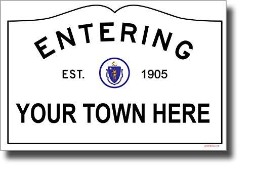 CUSTOM MA Town Sign - NEW World Travel Massachusetts - Poster