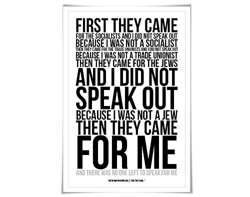 First They Came, Then They Came For Me Art Print Art Print. 60 Colours/4 Sizes. Martin Niemöller. Holocaust Poem Immigrants