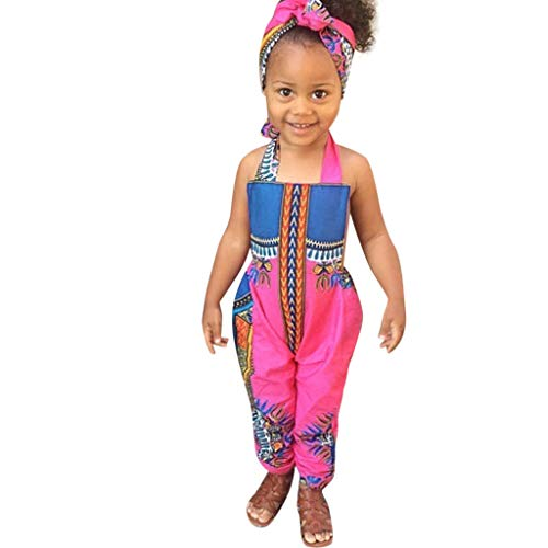 Sunyastor 2Pcs Toddler Kids Baby Girl Summer Outfits Clothes African Print Sleeveless Romper Jumpsuit +Headband Clothes Hot Pink