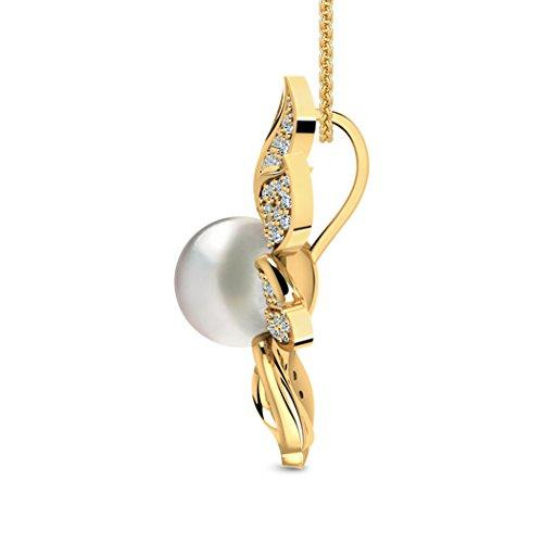 14K Or blanc 0.54CT TW Round-cut-diamond (IJ | SI) et de chinois Perles d'eau douce Pendentif