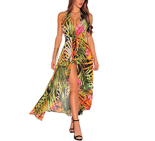 90510c10d871 Women s Sexy Halter Backless Floral Chiffon Long Maxi Dress Overlay Romper  Jumpsuit Playsuit - Buy Online in UAE.