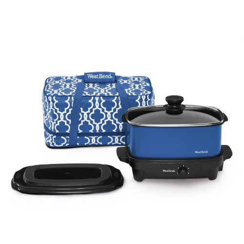 West Bend 84915B Versatility Slow Cooker with Insulated Tote and Transport Lid, 5-Quart, Blue