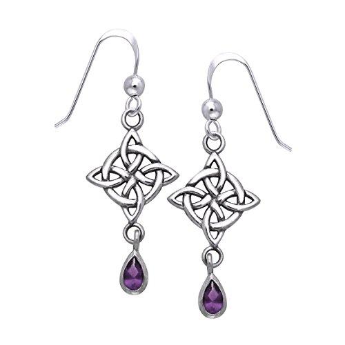 Jewelry Trends Celtic Luck Knot Sterling Silver Dangle Earrings with Purple Amethyst Drops