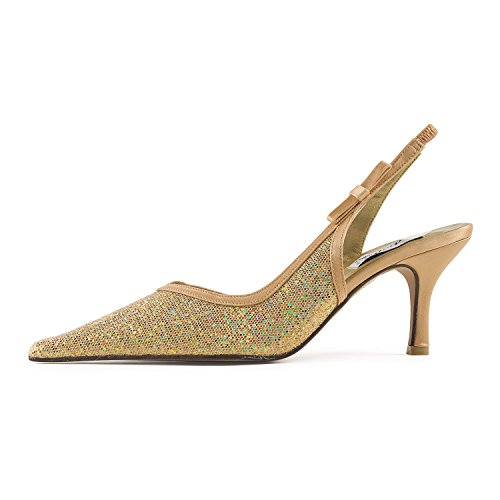 FARFALLA - Zuecos de Satén para mujer dorado