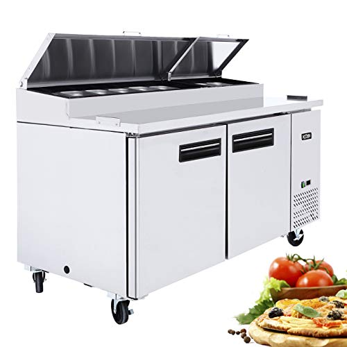 Commercial 2 doors Pizza Prep Table - KITMA 67 Inches Stainless Steel Cooler Refrigerator - Restaurant Refrigeration Equipment, 33℉ - 38℉ from KITMA