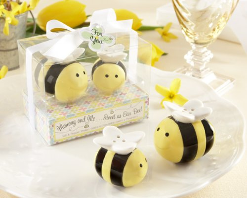 Mommy and Me.Sweet as Can Bee Ceramic Honeybee Salt & Pepper Shakers (Set of 12) - Unique Party Favor or Decoration Perfect for Weddings, Bridal Showers, Baby Showers & More ()