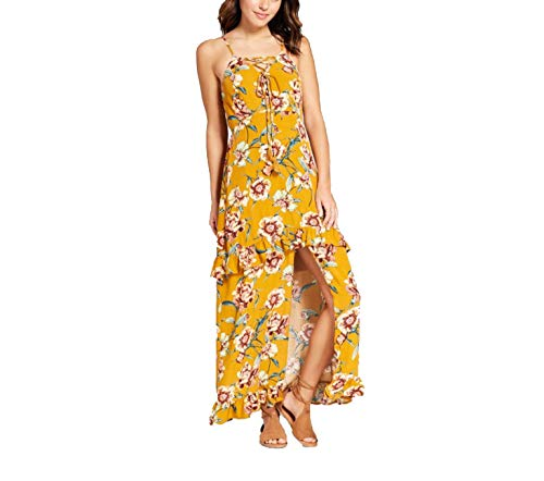 Xhilaration Women's Floral Print Strappy Lace-Up Slit Front Maxi Dress -Mustard- ()