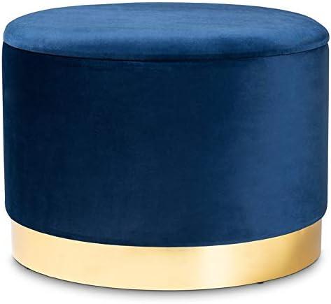 Baxton Studio Marisa Navy Blue Velvet Upholstered Gold Finished Storage Ottoman