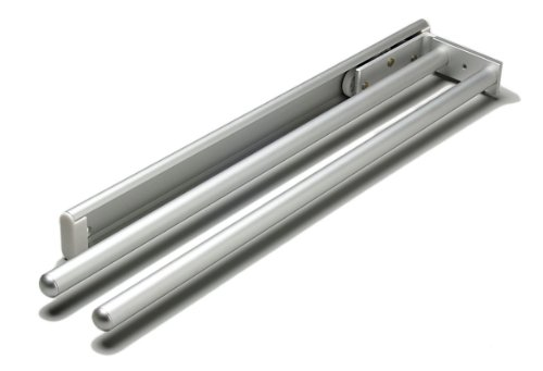 Hafele 510.54.21 2-Arm Side or Under Mount Aluminum Pull Out Towel Rack, Silver Anodized
