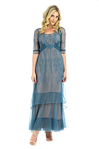 (Nataya CL-201 Women's Victoria True Romance Vintage Style Party Dress in Azure (M))