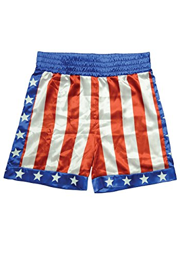Boxing Costume For Men - Trick or Treat Studios Men's Rocky - Apollo Creed Boxing Trunks, Red/White/Blue, One Size