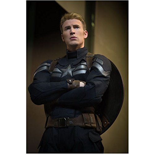 - Chris Evans 8 Inch x 10 Inch photograph Captain America Civil War The Winter Soldier The Avengers Age of Ultron Arms Crossed Camera Shooting from Below Shield on Back kn