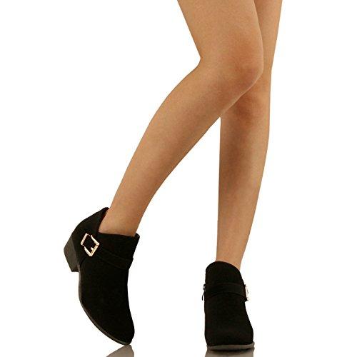 Guilty Schuhe Damen Blockabsatz Geschlossene Zehe - Riemchen Stiefeletten Blackv2 Nubuk