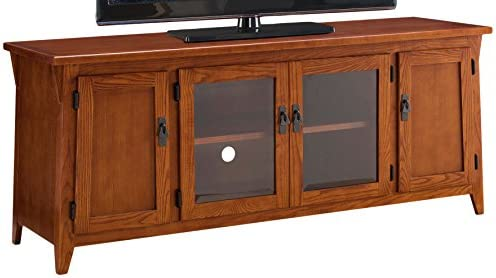 Leick Contemporary Canted Side Mission Oak 60″ Four Door TV Console