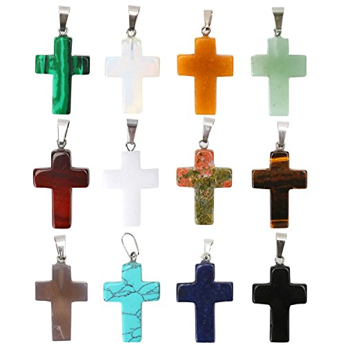 Silver Tone Tigers Eye - Wholesale 12PCS Assorted Natural Healing Quartz Stone Cross Pendants Charms Bulk for Jewelry Making
