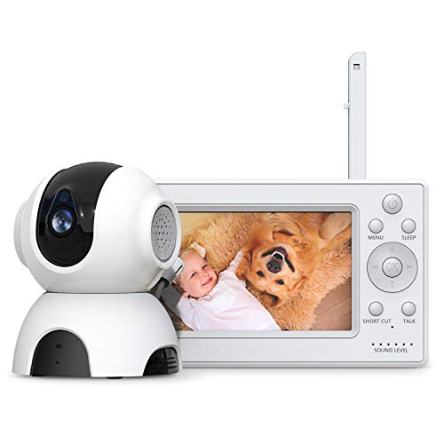 HOMIEE Video Baby Monitor with 720P Digital Camera, 5″ Color LCD Display and 1000 Ft Long Range, Night Vision, VOX, 5 Lullabies, Two-Way Audio, Sound/Temperature Alarm, Wall Mounting Capable, Black Review