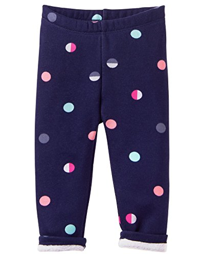 Gymboree Baby Girls Warm & Fuzzy Jeggings, Navy dot, 6-12 - Fleece Gymboree Pants Girls