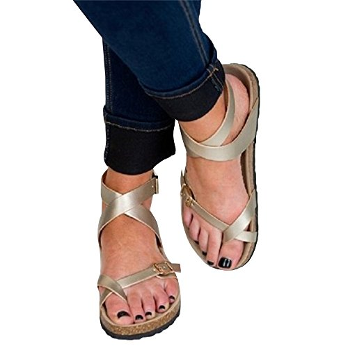 Sheleau Womens Buckle Lace up Flat Sandals Casual Flip Flop Gladiator Footbed Summer Shoes Silver