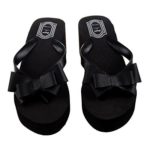 SODIAL(R) Chancletas de verano de senora Sandalias de playa cuna de tanga Zapatos de lazo de nudo Tamano 36 (EE.UU. 5)
