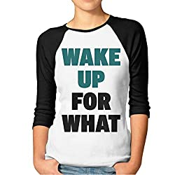 Wake Up For What 3 4 Sleeve Raglan Baseball Shirt Women S Black
