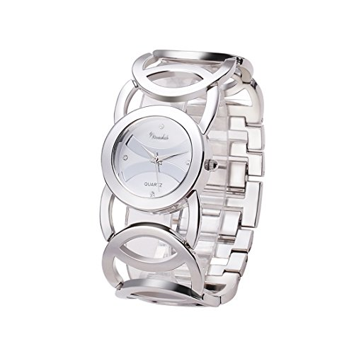 Novadab Immortal Love Accent Loop Bracelet Watch, Wrist Watches for Ladies (Silver)