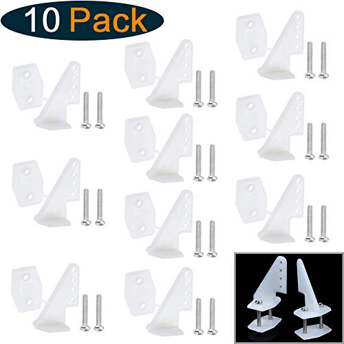 (Hobbypark Nylon Control Horns W13×L18×H25mm T-Style with 4 Adjustment Positions and Screws for RC Plane Scale Models Accessories (Set of 10) (with Screws M2x12mm))