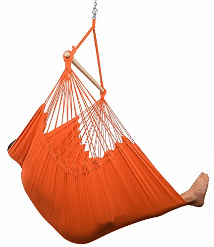 XXL Hammock Chair Swing by Hammock Sky - For Patio, Porch, Bedroom, Backyard, Indoor or Outdoor - Includes Hanging Hardware and Drink Holder (Peach Echo) (Beds Porch Swing)