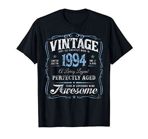 25th Birthday T-Shirt Made In 1994 Vintage 25 Years Old Gift (25 Gifts For 25th Birthday For Him)