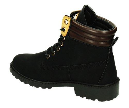 Robuste Damen Stiefeletten Worker Schnür Boots Knöchelhohe Schnürstiefel Trekking Winter Schuhe Kurzschaft 413 Schwarz
