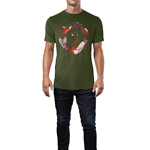 SINUS ART® Federkranz Boho Style Herren T-Shirts in Armee Grün Fun Shirt mit tollen Aufdruck