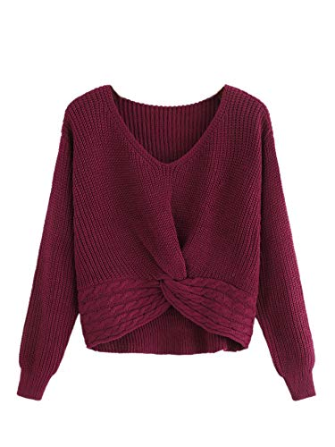 - MAKEMECHIC Women's Casual V Neck Sweater Long Sleeve Knot Front Crop Top Red S