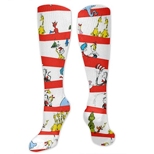 Celebrate Seuss Character Stripe White Red Compression Sock for Women & Men - Best for Running, Athletic Sports, Flight Travel -